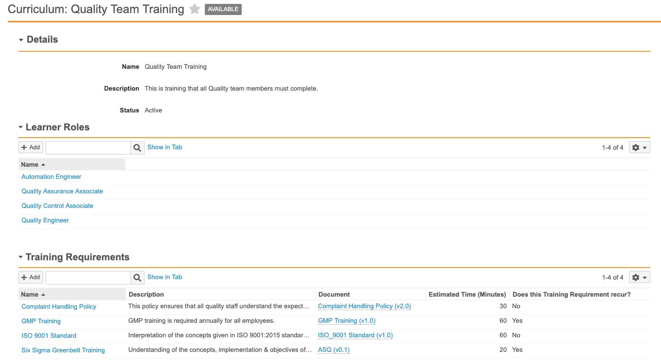 Curriculum_Learner Role_Training Req Screenshot