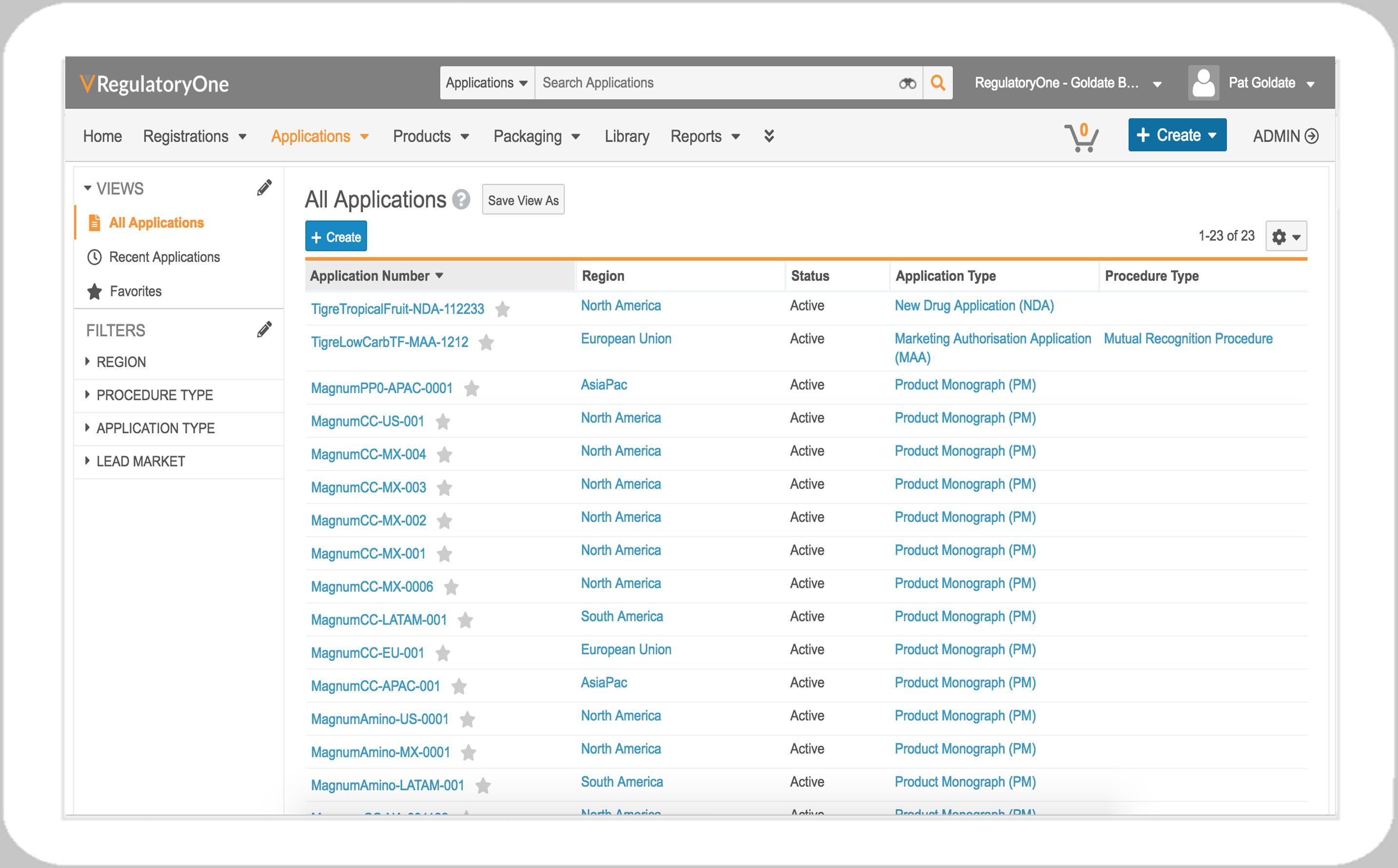 RegulatoryOne_All applications screen