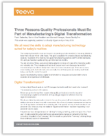 Three Reasons Quality Professionals Must Be Part of Manufacturing's Digital Transformation
