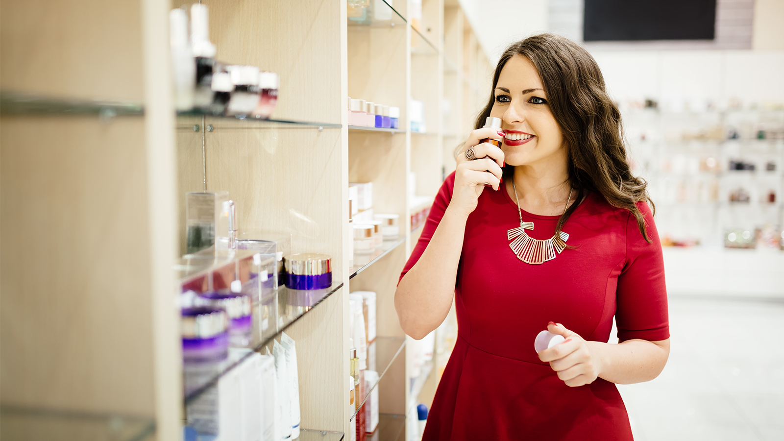 Woman Shopping for Fragrances