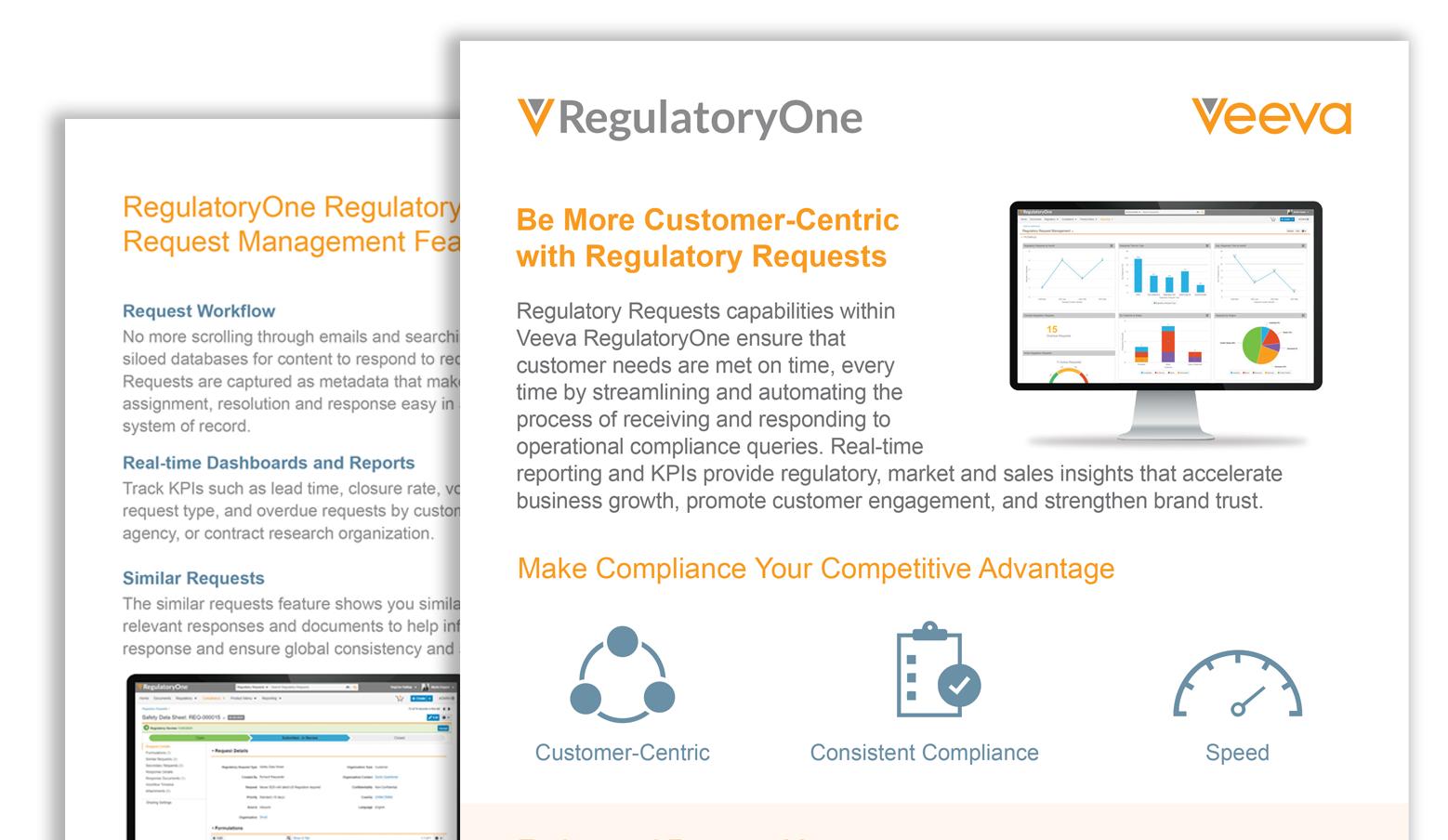 Veeva RegulatoryOne Regulatory Requests Management Product Brief