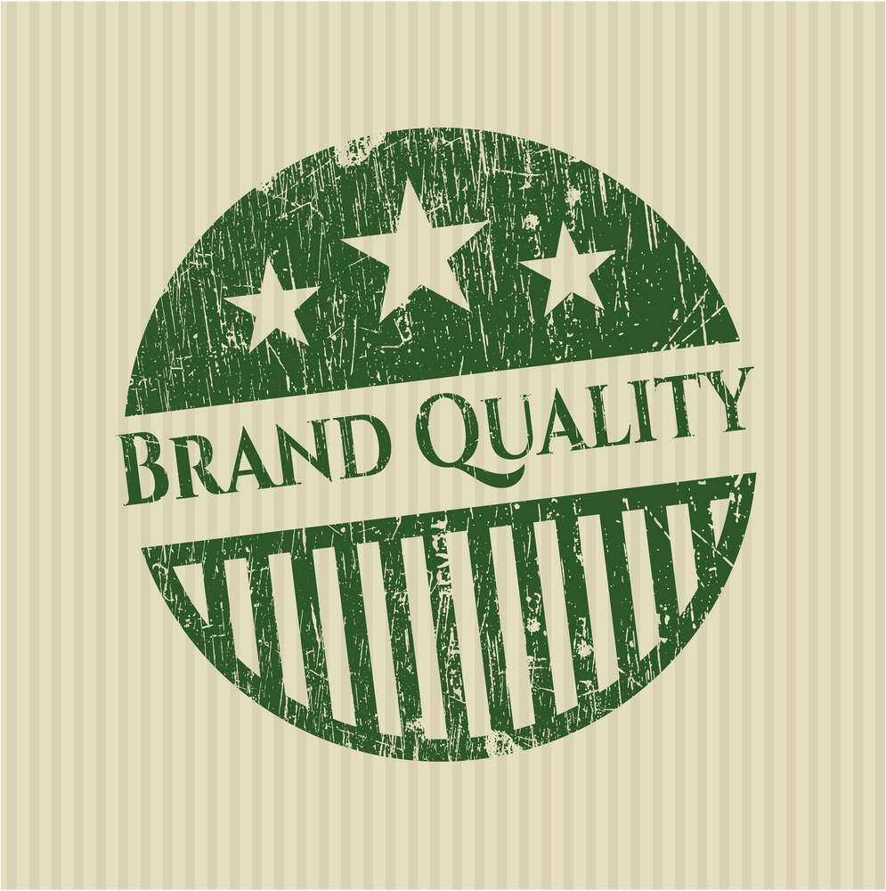 Brand Quality green rubber stamp