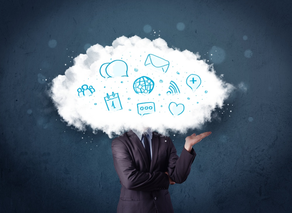 Man in suit with cloud head and blue icons on grungy background