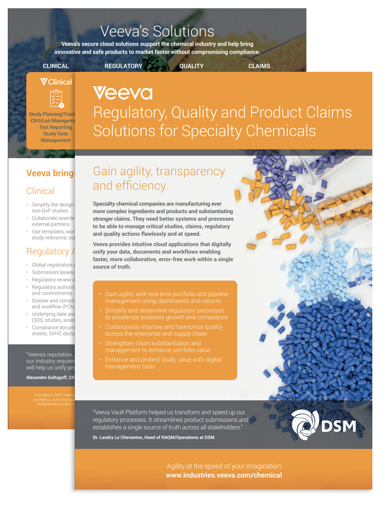 Veevas Solutions for Specialty Chemicals